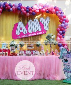 Trang trí bàn sự kiện sinh nhật chủ đề Lol Surprise XV014
