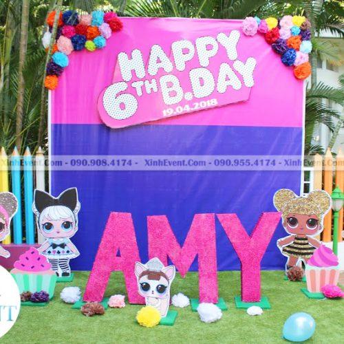 Backdrop trang trí sự kiện sinh nhật chủ đề LOL SURPRISE XV015
