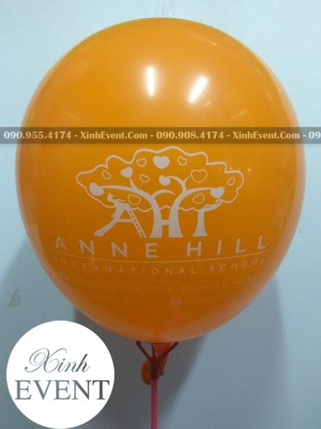 Bong bóng in logo trường mẫu giáo Anne Hill International School XV008