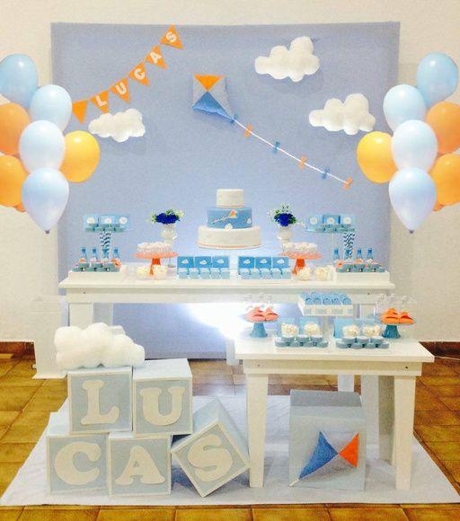 bong bóng bay trang trí bàn quà sinh nhật màu xanh dương bầu trời
