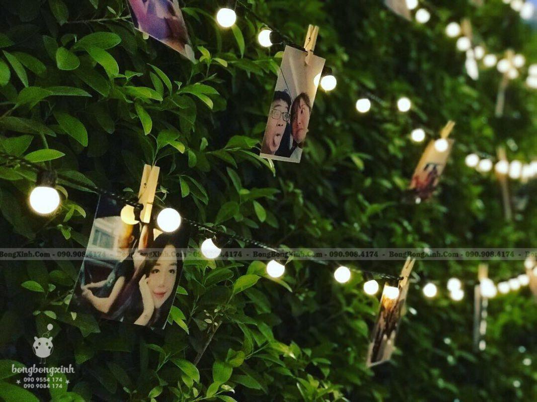 Dây đèn led và ảnh trang trí sinh nhật phong cach Rustic mộc độc đáo