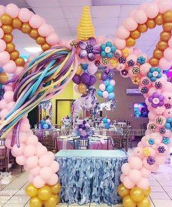 Bàn trang trí sinh nhật chủ đề unicorn hồng XV067