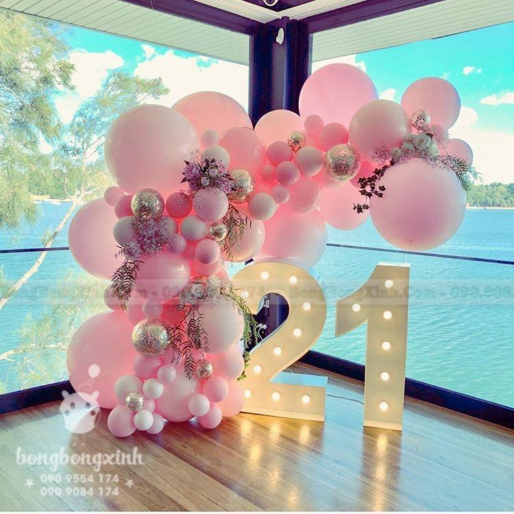 backdrop tiểu cảnh sinh nhật màu hồng tuổi 21