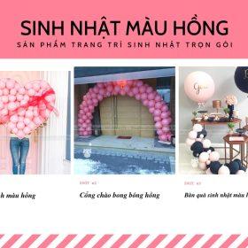 Tổ chức sinh nhật trọn gói chủ đề màu hồng MAX04