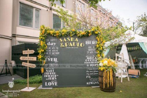 Backdrop tiệc cưới Golden XV087
