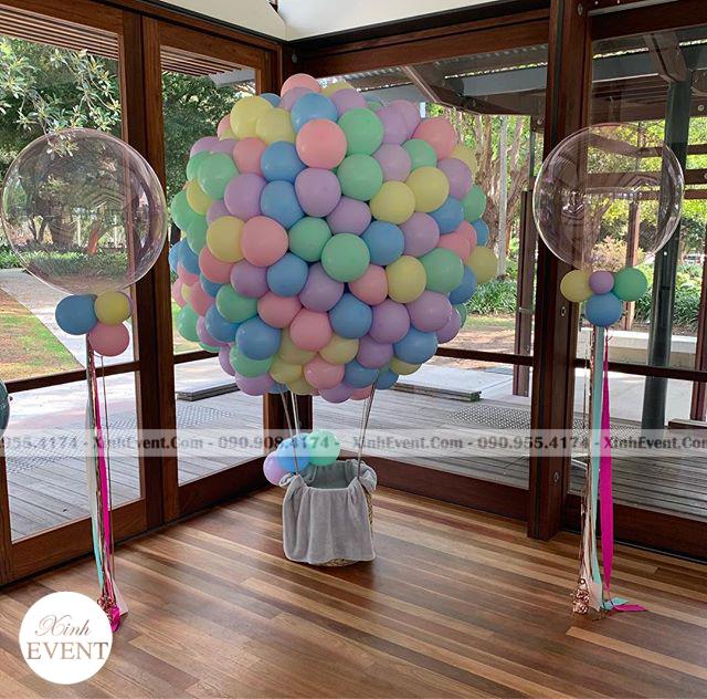 Tiểu cảnh trang trí bóng bay sinh nhật khí cầu bằng heli