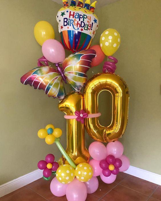 Trụ bong bóng sinh nhật kết hợp tạo hình và bong bóng bạc