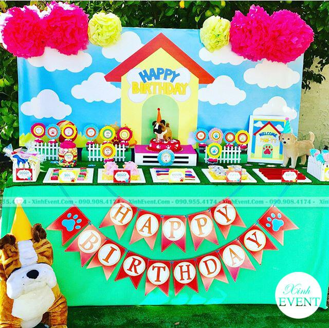 Trang trí bàn sinh nhật chó Bull nhỏ XV106