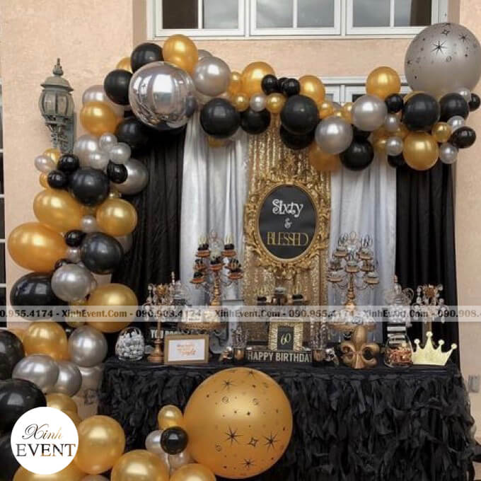 Backdrop sinh nhật công ty sang trọng XV111
