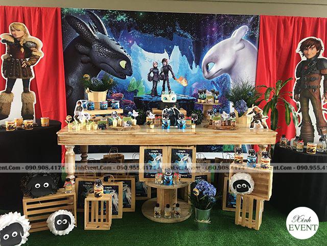 Trang Trí Sinh Nhật Bé Trai Với Bàn Sinh Nhật Bí Kíp Luyện Rồng XV118