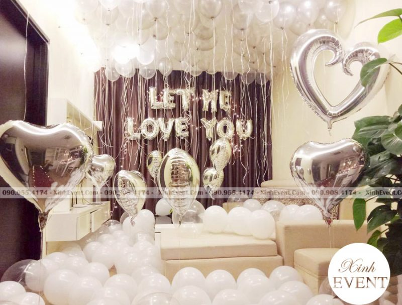 Bong bóng bay sinh nhật màu trắng trang trí phòng ngủ XV133