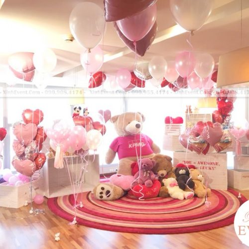 Bong bóng bay trang trí sinh nhật màu hồng đầy bất ngờ XV150
