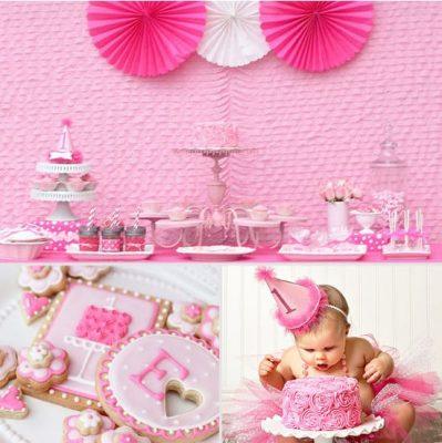 Cách trang trí sinh nhật cho bé bộ thôi nôi sinh nhật màu hồng