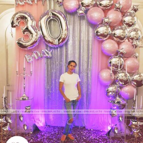 Phông nền trang trí sinh nhật người lớn kèm số tuổi XV221