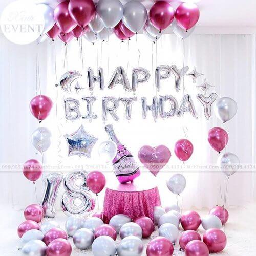 Trang trí bong bóng sinh nhật bất ngờ tại nhà màu hồng XV230