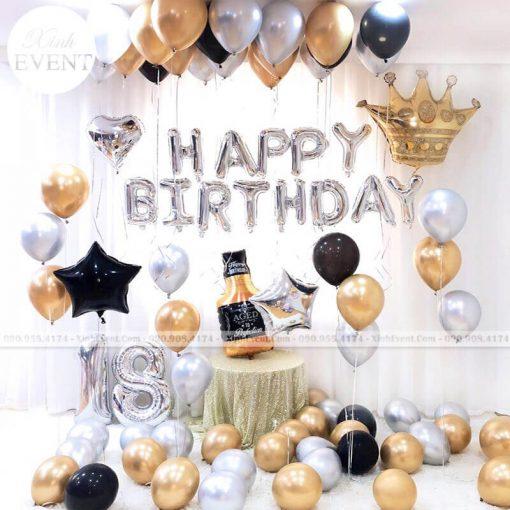 Trang trí bong bóng sinh nhật bất ngờ tại nhà màu vàng XV231