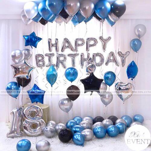 Trang trí bong bóng sinh nhật bất ngờ tại nhà màu xanh dương XV229