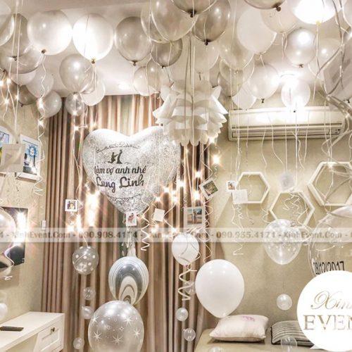 Trang trí sinh nhật tại nhà lãng mạn cùng bóng bay sinh nhật màu trắng XV138