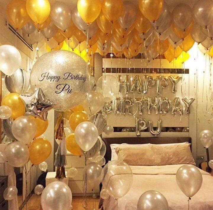 Trang trí sinh nhật trong phòng ngủ với bóng bay