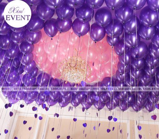 Trang trí trần nhà với bóng bay sinh nhật màu hồng và tím XV156