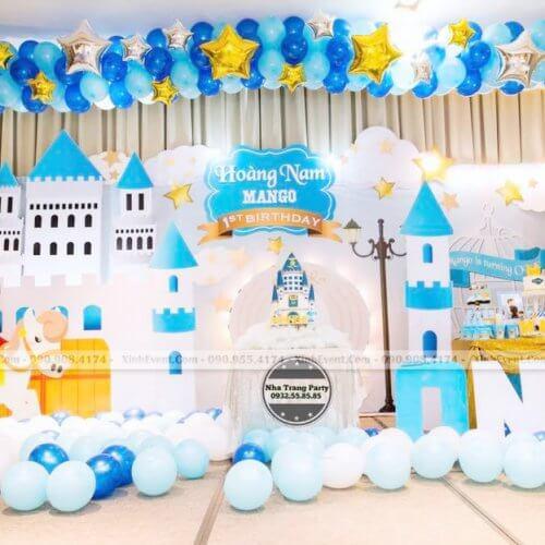 Backdrop sinh nhật 3D chủ đề hoàng tử cho bé trai XV196