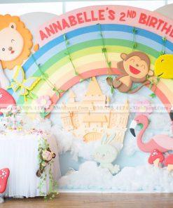 Phông nền tiệc sinh nhật 3D chủ đề muôn thú dễ thương XV200