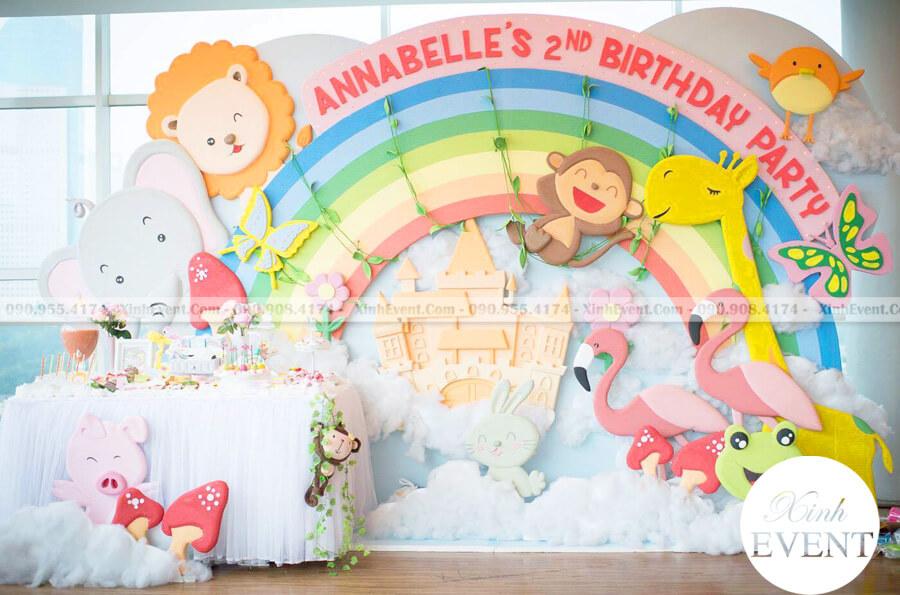 Backdrop sinh nhật bé gái 3D chủ đề muôn thú dễ thương XV200