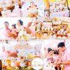 Bàn sinh nhật và backdrop 3D màu hồng cho các bé gái XV193