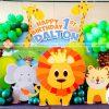 Backdrop 3D chủ đề muôn thú cho sinh nhật 1 tuổi của bé XV166