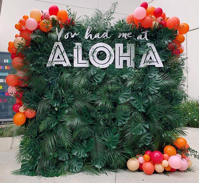 Backdrop thôi nôi phong cách Aloha XV255