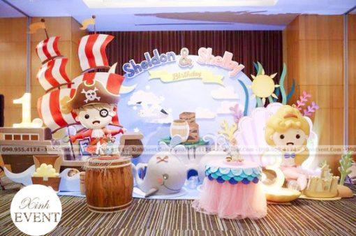 Backdrop trang trí sinh nhật 3D chủ đề cướp biển cho bé trai XV187