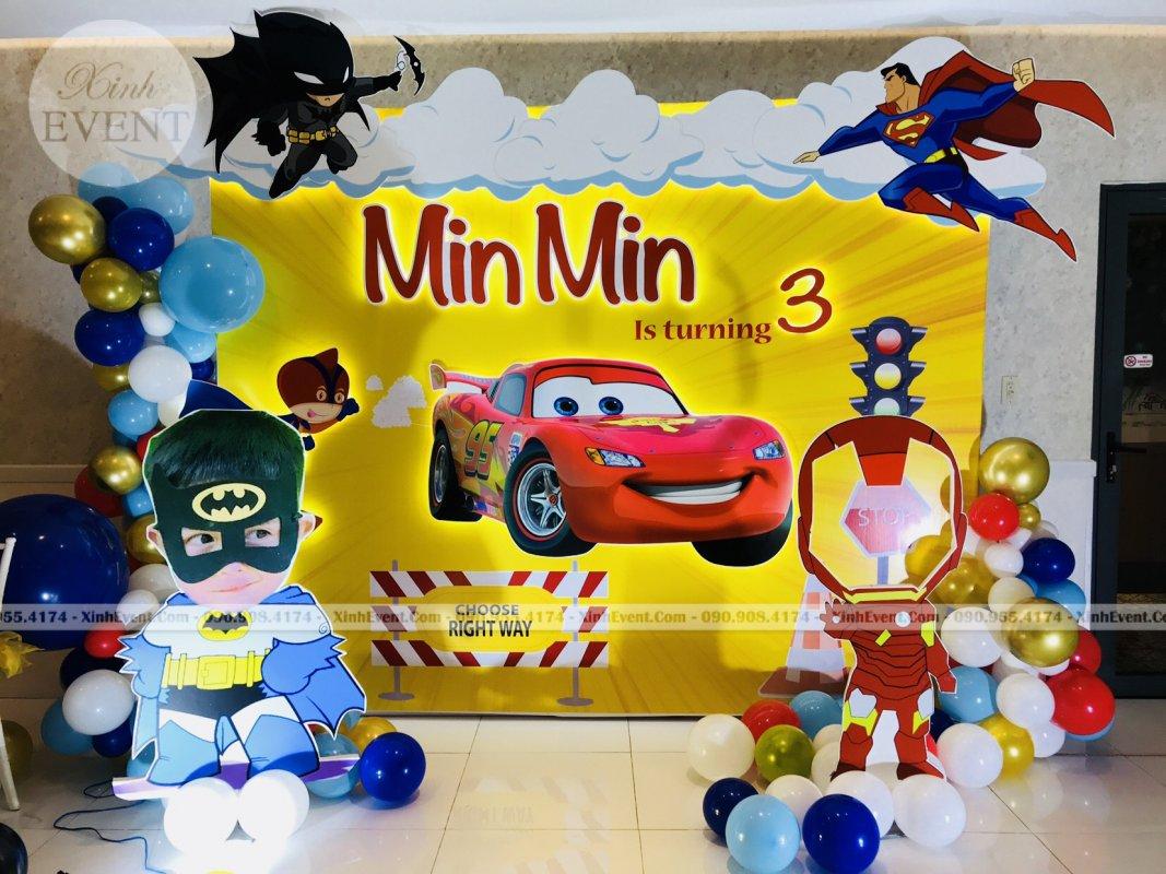 Backdrop trang trí sinh nhật trọn gói bé Min Min XV254