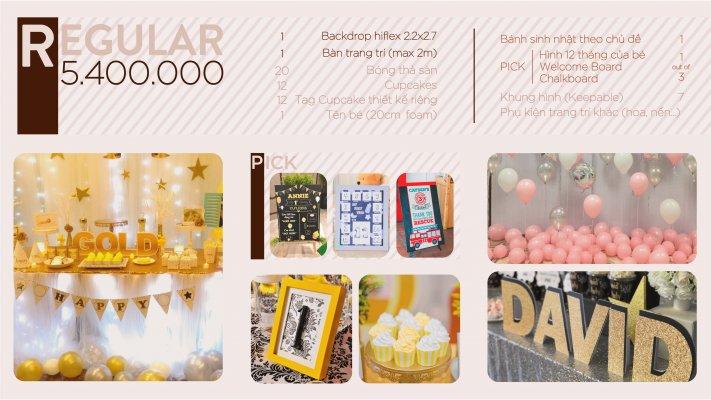 Gói sinh nhật trọn gói regular chất lượng và đầy đủ