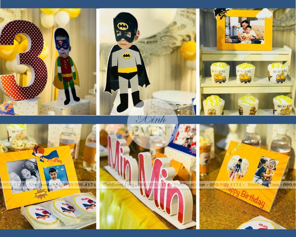 Phụ kiện cho bộ trang trí sinh nhật trọn gói bé Min Min XV254