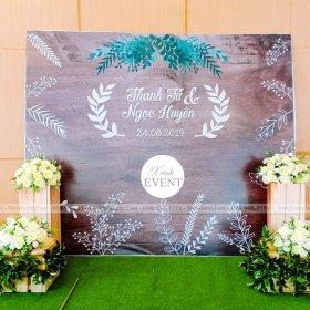Thi công backdrop trang trí tiệc cưới tại nhà hàng Adora