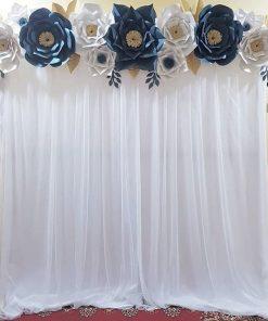 Backdrop sinh nhật vải voan trắng XV333