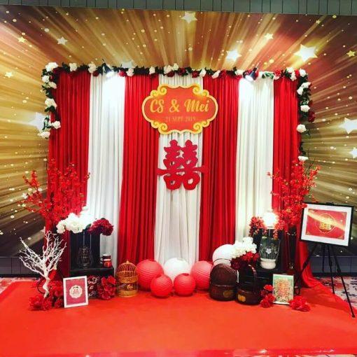 Backdrop tiệc cưới đỏ và trắng XV290