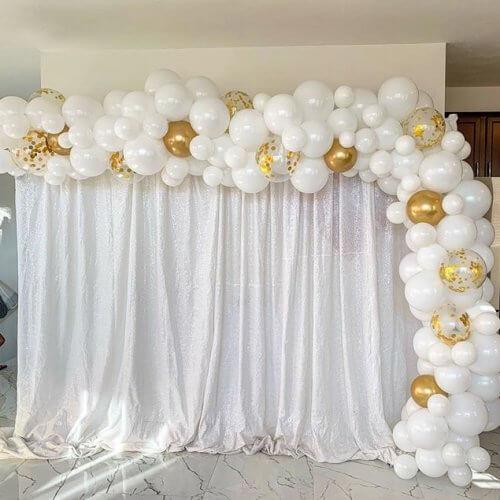 Backdrop tiệc cưới vải voan trắng XV305