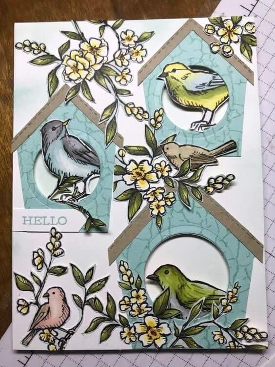 Trang trí thiệp 20-10 với những chú chim dễ thương tự vẽ