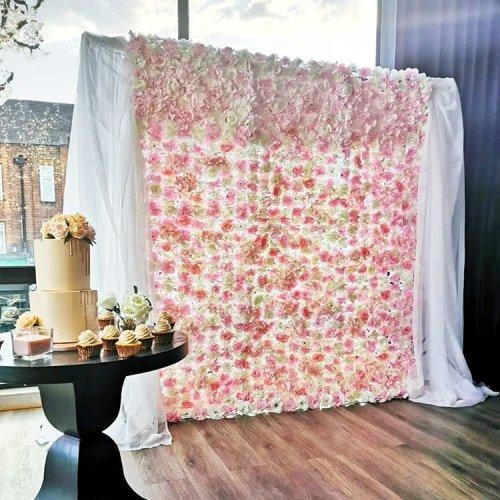 Backdrop trang trí tiệc cưới hoa và vải voan XV325