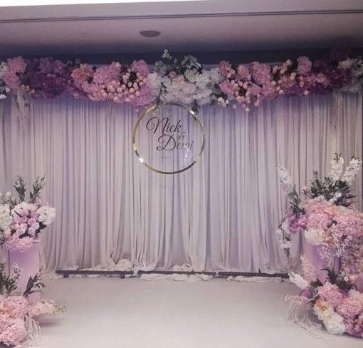 Backdrop tiệc cưới màu tím pastel XV348