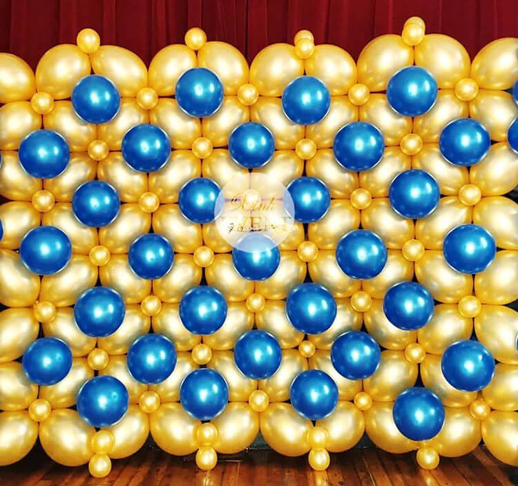 Backdrop sinh nhật tường bong bóng crom XV351