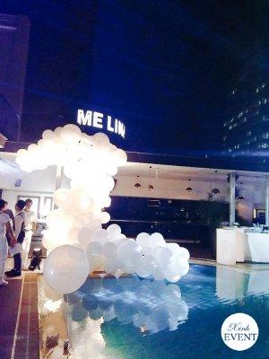 Bộ sản phẩm trang trí tiểu cảnh màu trắng trang trí tiệc bể bơi XV352