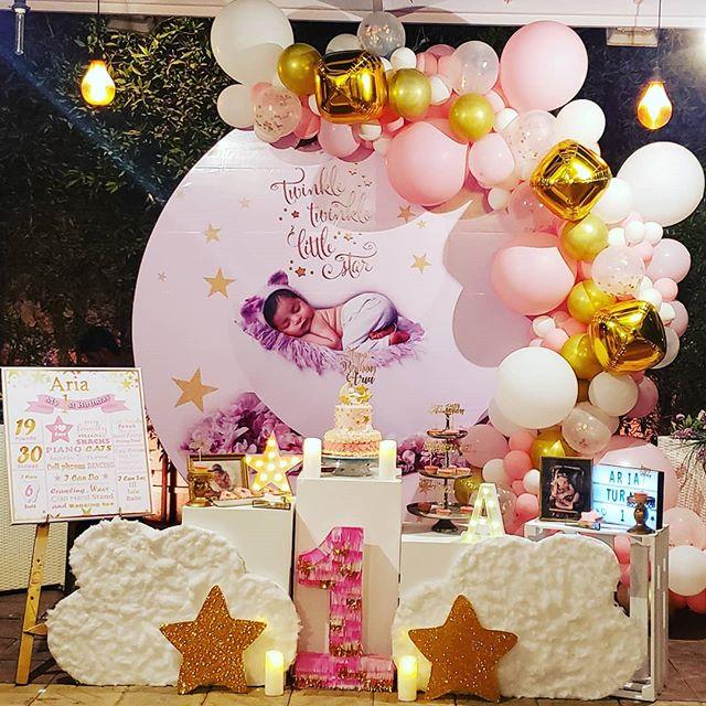Trang trí bàn thôi nôi sinh nhật cho bé gái XV367