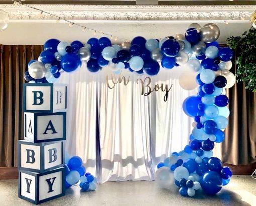Backdrop sinh nhật tại nhà xanh dương bé trai XV372