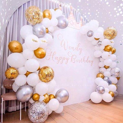 Backdrop sinh nhật trắng XV407