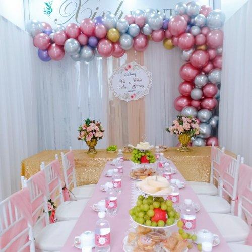 Backdrop tiệc cưới đón lễ vu quy bằng vải voan XV389