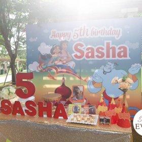 Trang trí bàn quà sinh nhật bé Sasha với chủ đề Aladin