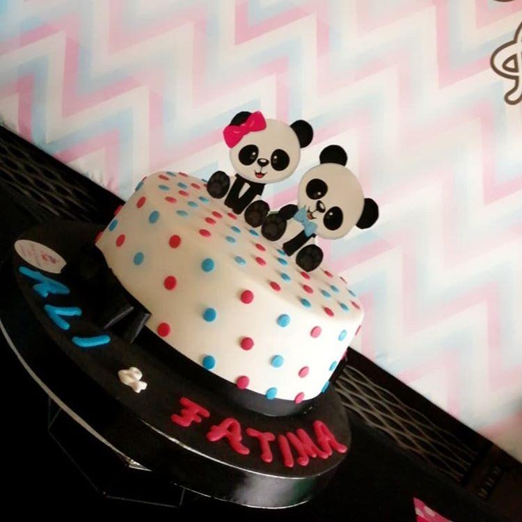 Bánh sinh nhật trang trí bàn quà trang trí đôi chủ đề gấu trúc XV435
