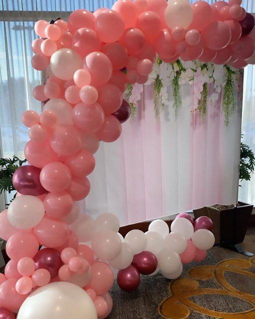 Dây bong bóng trang trí tiểu cảnh sinh nhật màu hồng XV475